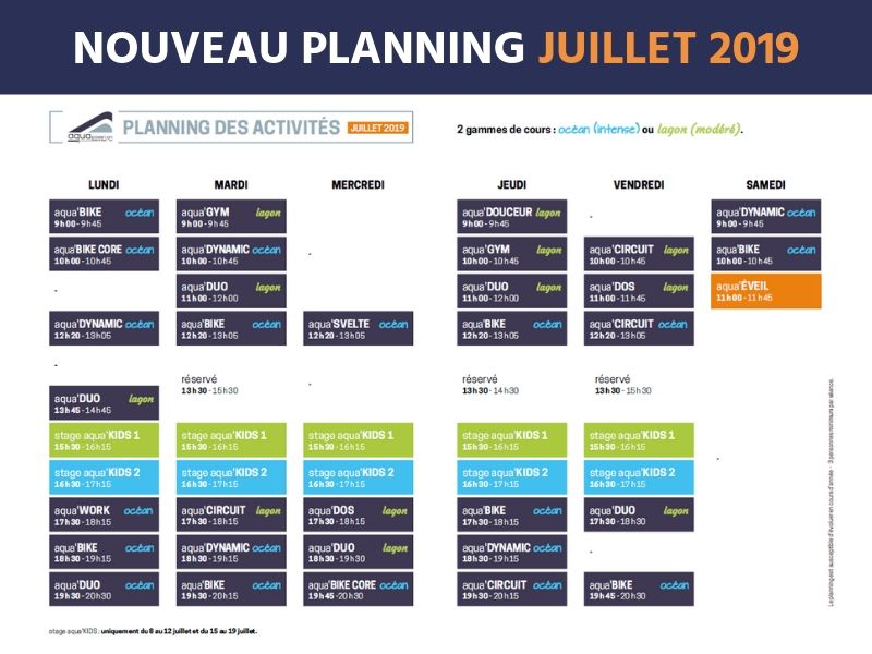 Aquapassion planning été 2019