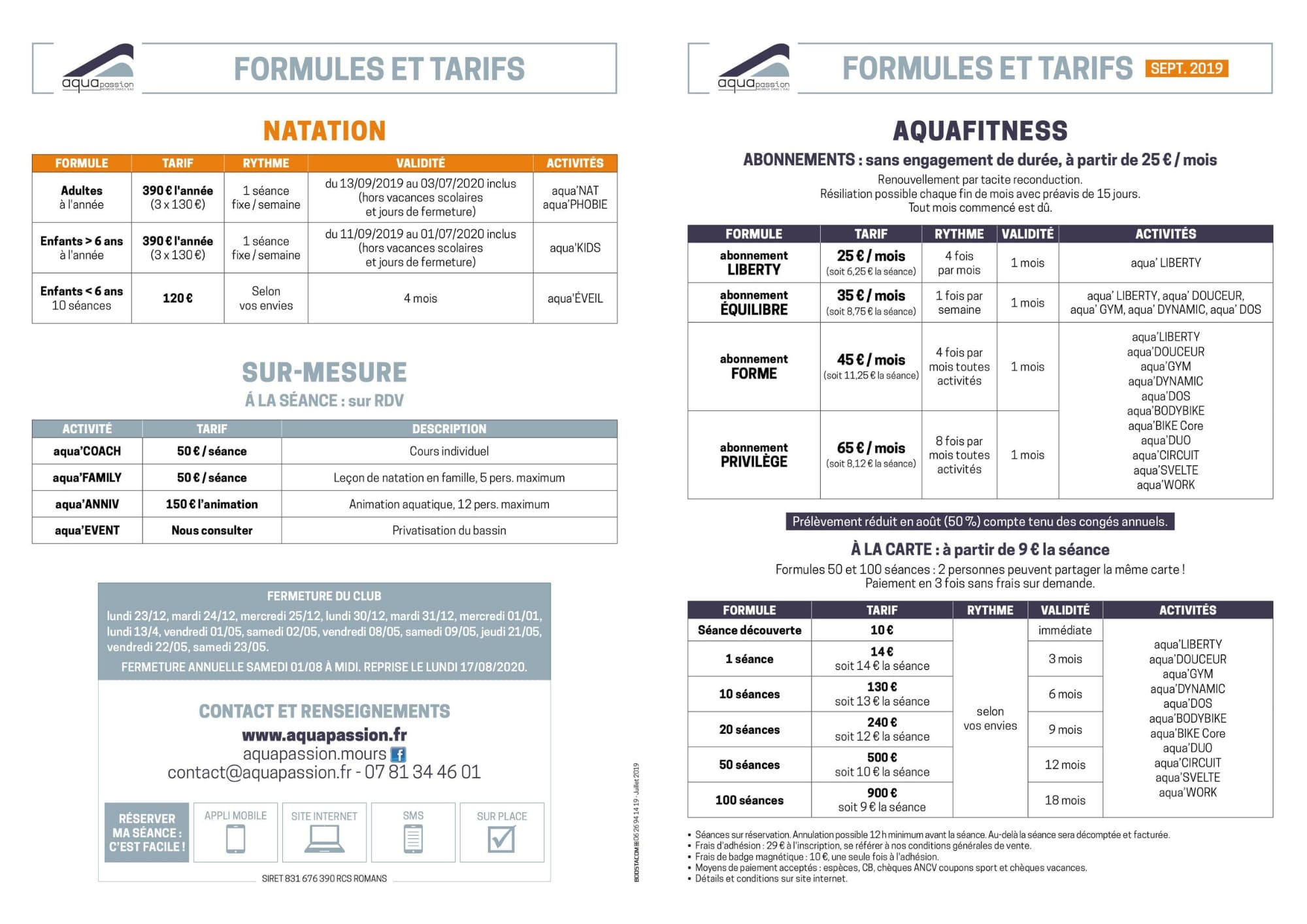Formules et tarifs du centre aquatique Aquapassion